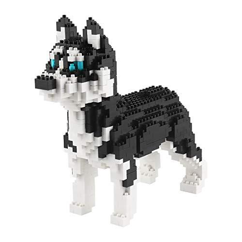 Larcele Mini Husky Hund Bausteine Spielzeug Bricks Haustier Bauen Bauklötze,950 Stücke KLJM-02 (Schlittenhund) Mehrweg