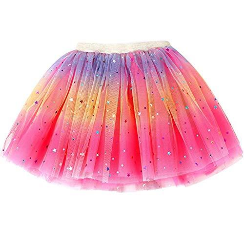 Ruiuzi Tutu-Rock Regenbogen für Kinder, Mädchen, klassisch, 3-lagig, Tüll, Tutu, Rock für Partys, Halloween, Partys, Kostüme (Rosig, Mädchen (3-8 Jahre))