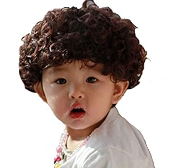 Long Short Curly Wavy Straight Costumes Wig with Bangs Cosplay Hair Adjustable Synthetic Heat Resistant for Boys Girls 4-10Y  Big Curly Boys 4-8Y