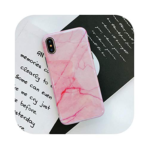 Carcasa trasera de mármol para iPhone 7 X 8 6 6S Plus Blue Ray Light TPU Soft Phone Cover For iPhone 8 6 6s Smooth Mirror Coque-Pink-For iPhone 6 Plus
