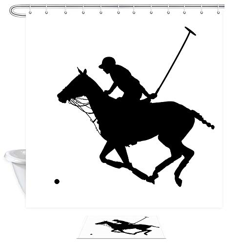 Sports Shower Curtain Doormat Set, Black Silhouette of A Polo Player Play Field Mallet and Horse Western, 69X70in Fabric Bathroom Bath Curtains with 15.7x23.6in Flannel Non-Slip Indoor Entrance Mat