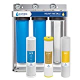 "Express Water Heavy Metal Whole House Water Filter – 3 Stage Home Water Filtration System – Sediment, KDF, Carbon Filters – includes Pressure Gauges, Easy Release, and 1"" Inch Connections"