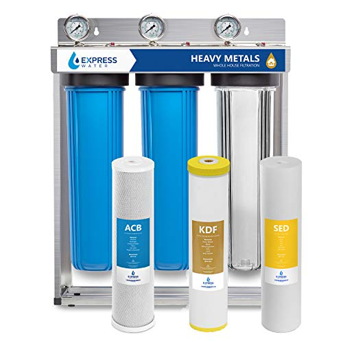 "Express Water Heavy Metal Whole House Water Filter – 3 Stage Whole House Water Filtration System – Sediment, KDF, Carbon Filters – Includes Pressure Gauges, Easy Release, and 1"" Inch Connections"
