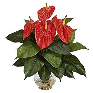 C.W.USJ Artificial Plants Artificial Plant 18 Heads Fake Flower Anthurium Small Potted Plant Large Potted Office Table Decoration Artificial Flower
