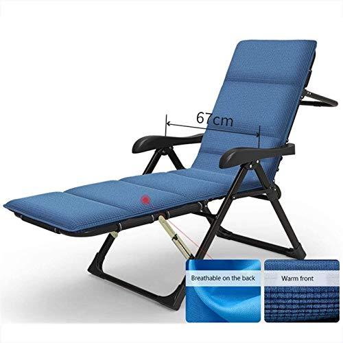 Reclinabile pieghevole, Zero Gravity Chair Patio Sedie reclinabili, con cuscino blu Tempo libero Sedia a sdraio Piega Pranzo Break Domestica Ufficio reclinabile Ufficio Ponno Lettino Lazy Shackrest Se