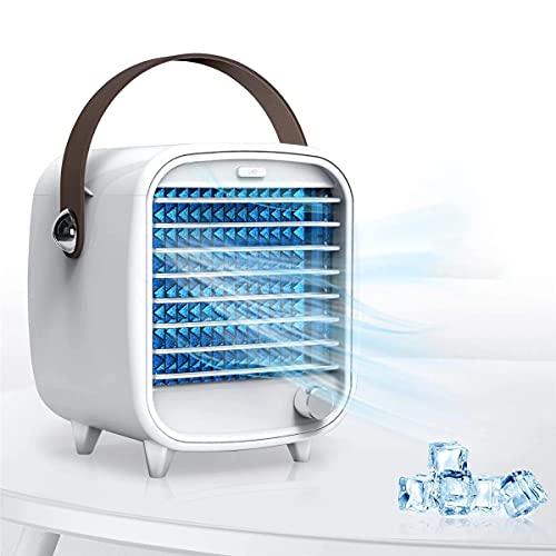 YING Aire Acondicionado Portátil, Mini Ventilador De Enfriamiento De Aire, Alimentado por USB, Cofre De Hielo Incorporado, Función De Luz Nocturna, para Dormitorio De Oficina