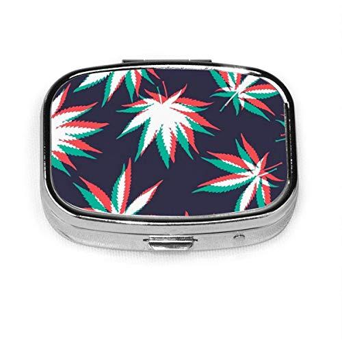 Ganja Weed Marihuana Custom Fashion Square Pastillero Tablet Holder Bolsillo Organizador Caja Decoración