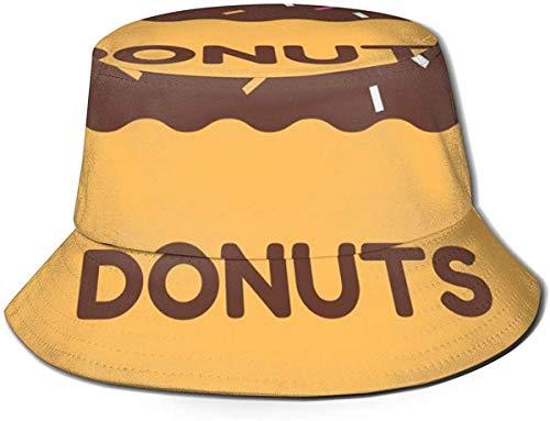 DUTRIX Sombreros de Cubo Transpirables con Parte Superior Plana Unisex Cherry Sweet Pie Food Bucket Hat Sombrero de Pescador de Verano-Dibujos Animados de Donut Print-One Size