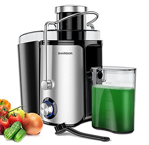 """Juicer, Juicer Machines, SHARDOR Centrifugal Juicer with Wide 3"""" Feed Chute, Juice Extractor with Dual Speeds, Juicer for Fruits and Veggies, Include Cleaning Brush, BPA-Free"""