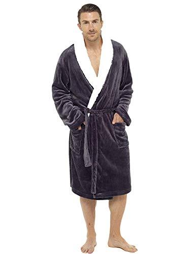 De lujo para hombre con capucha albornoz suave polar bata albornoz albornoz con detalle de pelo chal o campana-empaquetado para regalo con lazo perfecto para hombre (2XL, Carbón)