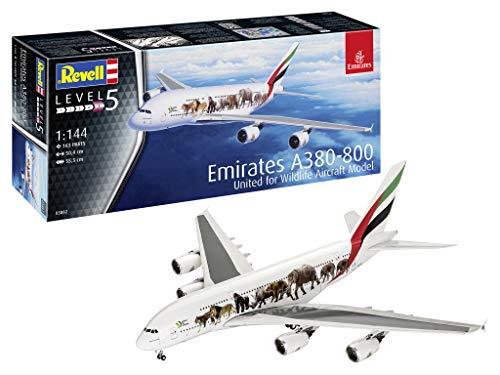 Revell- Airbus A380-800 Emirates Wild Life Kit di Modelli in plastica, Multicolore, 1/144, 03882
