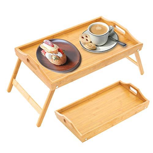 OSPUORT Bandeja de bambú para cama con patas plegables, bandeja de servicio multiusos para cama y sofá, apta para escritorio de portátil, aperitivos y lectura.