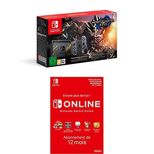 Console Nintendo Switch - Edition Monster Hunter Rise + Nintendo Switch Online Abonnement 12 Mois (Code de téléchargement)