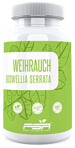 Weihrauch Extrakt 120 Kapseln, 500 mg pro Kapsel, 65% Boswellia Säuren, Vegan - Made in Germany - FSA Nutrition