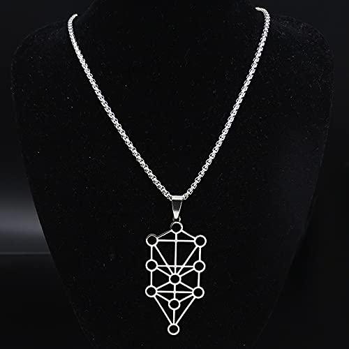 YUANBOO Hueco 7 Chakra Reiki curación Equilibrio Buda Acero Inoxidable Collar Collar Collar Collar de Yoga Collar para Mujer joyería Masculina Collares Collares