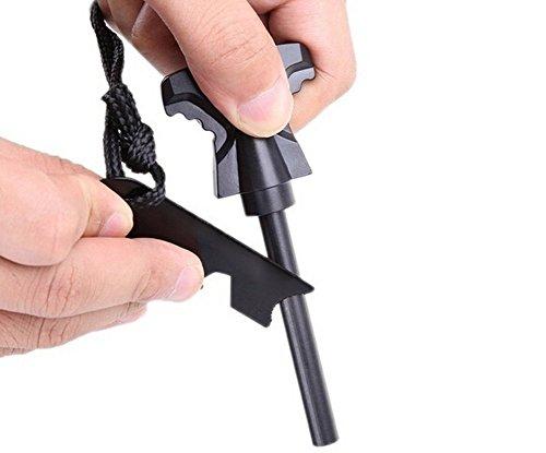 Velidy Fire Starter Magnesio Pedernal Stone Kit de Encendedor Impermeable/Incombustible, para acampar al aire libre, Vivir Supervivencia (negro)