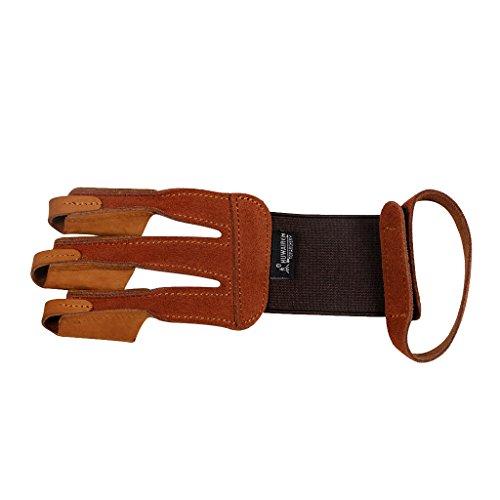 Gazechimp Bogenhandschuh traditionell, Leder Bogenschießen Handschuh, beidhändig geeignet, Braun