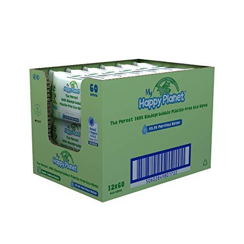 My Happy Planet Toallitas húmedas para bebés 100% biodegradables, sin...