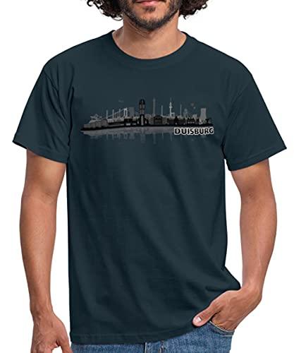 Duisburg Skyline Stadt Silhouette Männer T-Shirt, XL, Navy