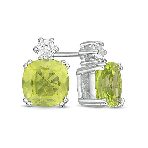 2Hearts Aretes de peridoto D / VVS1 con diamantes de talla cojín de 7.0 mm para niñas y mujeres en plata de ley 925