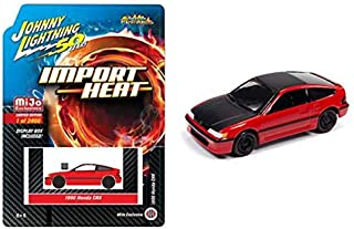 1990 CRX Red with Black Hood and Top Street Freaks Limited Edition to 2,400 Pieces 1/64 Diecast Model Car by Johnny Lightning JLCP7200