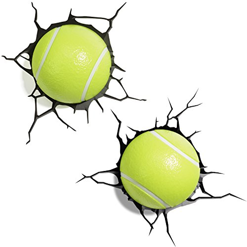 3D Light Fx 2 Palline Tennis Lampada LED, Verde, 8 x 4.5 x 8 cm, 2 unità