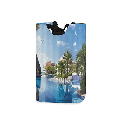 BEITUOLA Laundry Basket,Ocean Summer Sunny Resort Seagull Flying Over Holiday Villa Gazebo Palm Trees Swimming Pool Sky,Portable Washing Basket,Laundry Hamper with Handle,Storage Bin,Collapsible