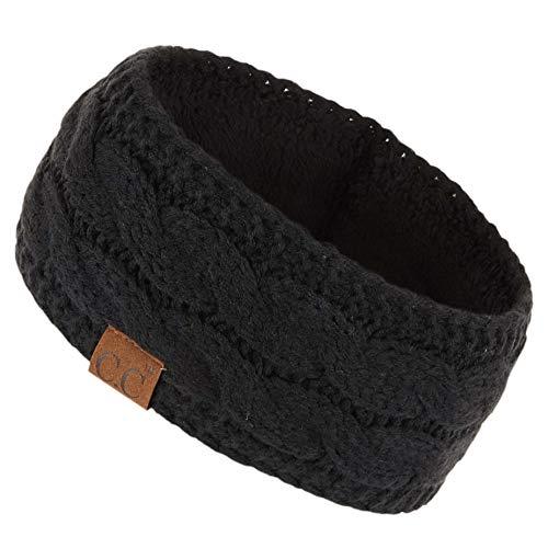 ccbeanie CC Winter Fuzzy Fleece Lined Thick Knitted Headband Headwrap Earwarmer (Black)