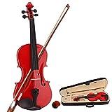 LOKE Juego de violín 4/4 de tamaño completo para niños, principiantes, estudiantes, con funda rígida, colofonia, lazo, rojo