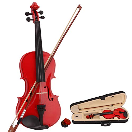 red violin with cases Red Color School Basswood Acoustic Violin + Case + Bow + Rosin Xmas (4/4)
