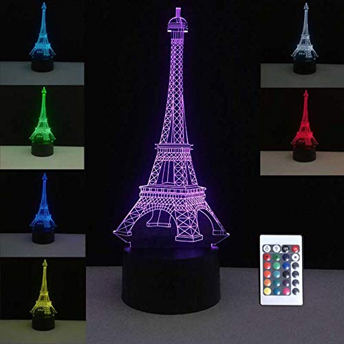 3D nachtlampjes kleurrijke tafellampen usb LED-lamp Frankrijk Parijs Eiffeltoren stemming slaapkamer bruiloft decoratie vakantie decor
