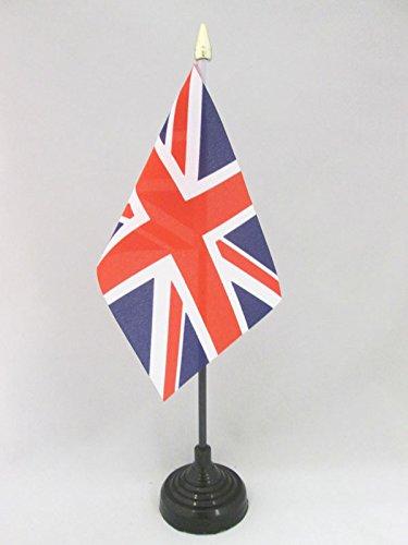 AZ FLAG Bandera de Mesa del Reino Unido 15x10cm - BANDERINA de DESPACHO Inglesa - BRITANICA – UK 10 x 15 cm Punta Dorada