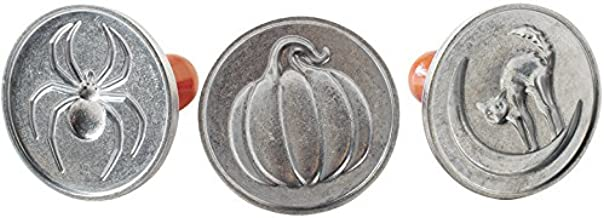 Nordic Ware 1260 Spooky Cast Cookie Stamps, 3-inch rounds, Silver