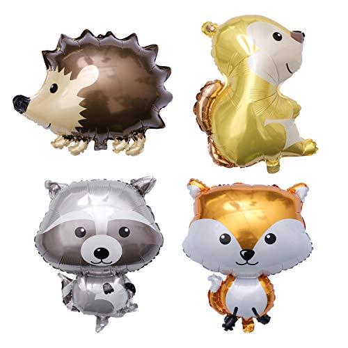 Amosfun 4 UNIDS Animales Globo Fiesta de Dibujos Animados Globo de Papel de Aluminio niños Suministros (Erizo + Zorro + Mapache + Ardilla)