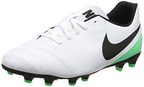 Nike Tiempo Rio III FG, Botas de fútbol Unisex niños, (White/Black/Electro Green), 37.5 EU