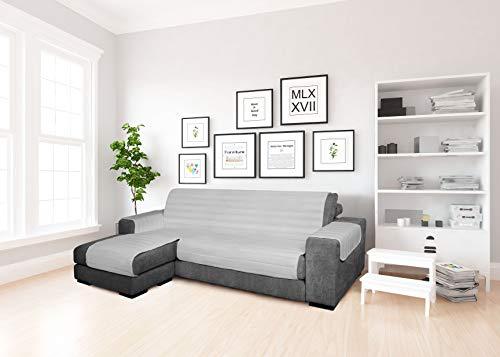 MB home basic Funda de sofá con Chaise Longue de Tela, Gris, 190 cm