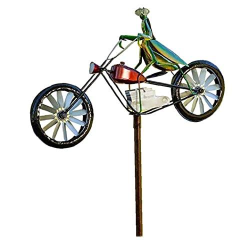 NIDONE Garden Wind Spinner Vintage Bicycle Cute Mantis Animal Statues Sculptures for Yard Lawn Patio Decoration