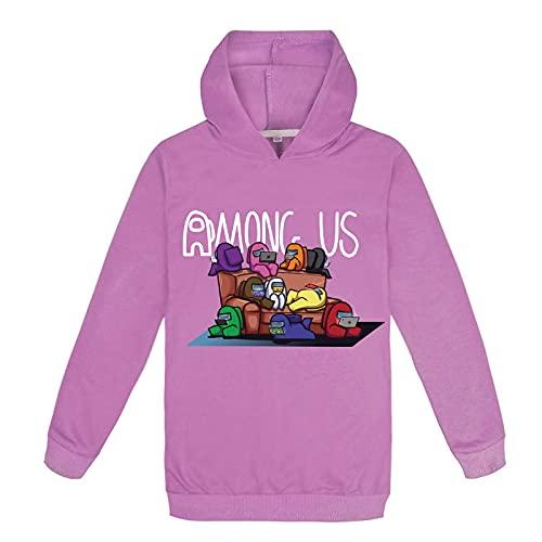 Sudadera Spring Autumn Hoodie Anime Amoung Us Hooded Sweatshirt Children Oversized Hoodies Boy Girl Hoodie Kids-140Cm Purple