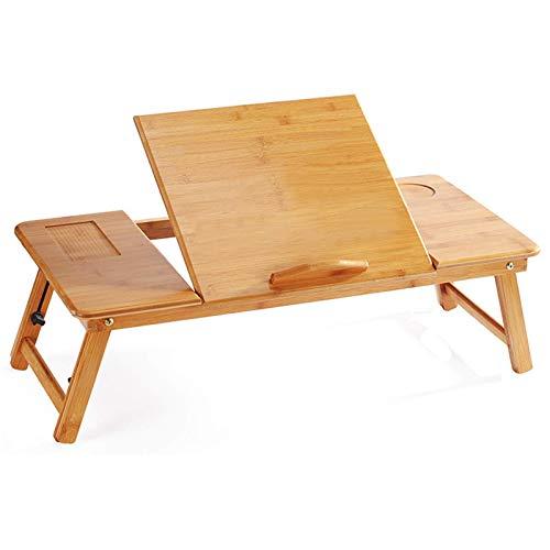 Alvnd Silla Plegable de Gravedad Cero Ajustable Escritorio portátil Plegable Plegable Mesa de Cama de Laptop de bambú portátil PC Desktop Stands Soporte Sofá Escritorio