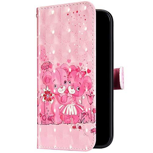 Uposao Kompatibel mit Samsung Galaxy A71 Hülle Leder Handyhülle Glänzend Glitzer Bling Bunt Muster Wallet Hülle Klapphülle Brieftasche Schutzhülle Flip Case Magnet Kartenfach,Rosa Bär