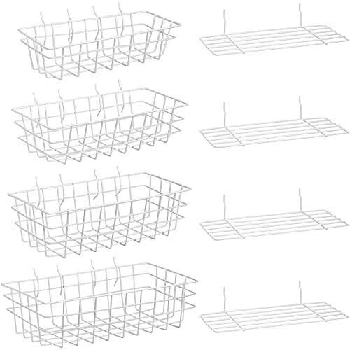 8 Pieces Pegboard Baskets Peg Board Racks Square Style Wire Shelf Baskets Bins Wall Organizer Attachments for Organizing Various Tools Workbench Accessories Garage Storage, 4 Sizes (White)