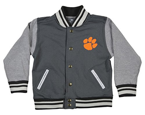 College Kids 25435 NCAA Clemson Tigers Children Unisex Toddler Letterman Jacket, 5/6 Toddler, Pewter/Oxford