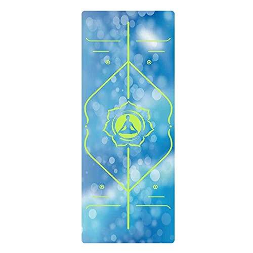 Esterilla de yoga de caucho natural de gamuza con línea de posicionamiento, grosor 1,5 mm, tamaño plegable 173 cm x 61 cm, con fuerte resistencia al desgarro, esterilla ideal para practicantes de yoga