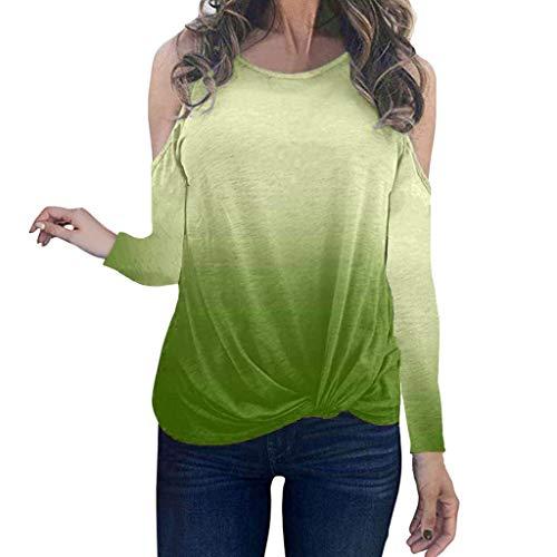 Xmiral Bluse Damen Farbverlauf Geknotet Saum O-Ausschnitt Schulterfrei T-Shirt Hemden Lange Ärmel Verknotete Sling Sweatshirts...