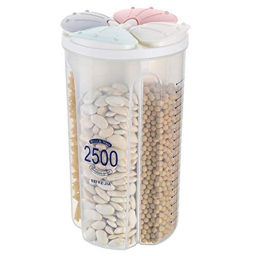 N / A Hermético del envase de almacenamiento de alimentos, cereal seco LeakProof plástico Contenedores Dispensadores 2500ml de cuatro colores / 4 cuadrícula