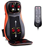 Shiatsu Back & Neck Massager Chair Seat Cushion with Heat, Full Back Kneading Shiatsu or Rolling Massage, Massage Chair pad with Height Adjustment, Relieve Muscle Pain for Back Shoulder and Neck