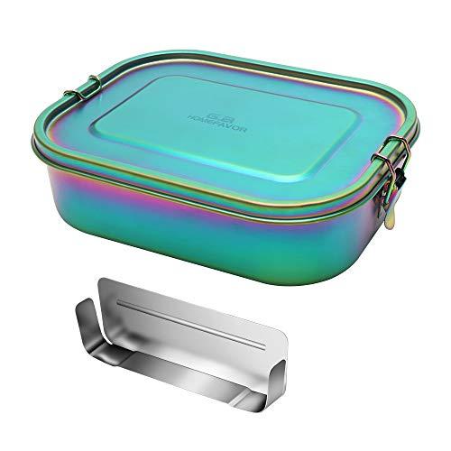 G.a HOMEFAVOR Edelstahl Brotdose Bento Box Auslaufsiche Groß Metall Lunchbox 1400ml mit Herausnehmbarer Trennwand Vesperdose für Kinder und Erwachsene, Galvanisierung Regenbogenfarbe, Brotzeitdose