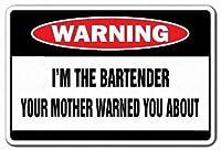 私はバーテンダーの看板を看板夜バーラウンジ警告警告金属標識警告金属標識通知安全セキュリティサイン通り装飾