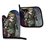 shenguang Legend-Zelda Oven Mitts and Pot Holders Sets Hanging Non-Slip Heat Resistant 2 Piece Set for Kitchen BBQ Cooking Baking Grilling Machine Washable