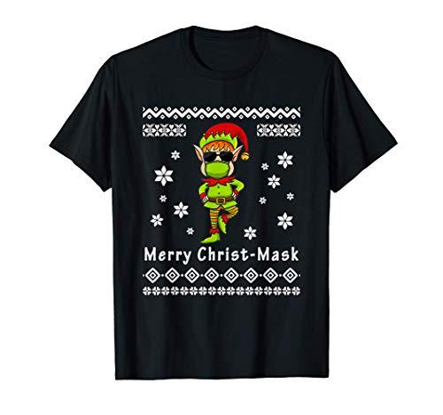 Christmas 2020 Elf Quarantine Mask Ugly Matching Pajama Gift T-Shirt